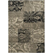 Bayside Gray/Black Floral/Geometric Area Rug