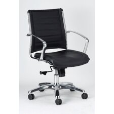 Europa Mid-Back Leather Chair with Arms