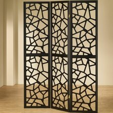 "70.25"" x 52"" Folding 3 Panel Room Divider"