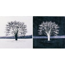 Duo 2 Piece Painting Print in Black and White Set