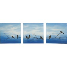 Wintery Leaves 3 Piece Painting Print Set