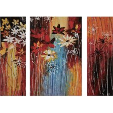 Rainy Day Flowers Oil 3 Piece Original Painting Set