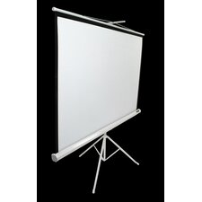"MaxWhite Tripod Series Tripod / Portable Pull Up Projector Screen - 99"" Diagonal in White Case"
