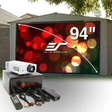 "94"" Outdoor Projection Screen & LED Projector Bundle"