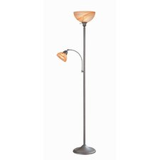 Rust Reading Lamp and Torchiere Floor Lamp with Cloud Shades