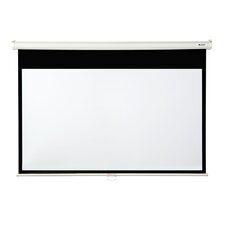 "Matte White 92"" diagonal Manual Projector Screen with Slow Retraction"