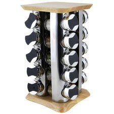 20 Piece Bamboo Jar Spice Rack Set