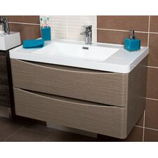 Envy 90cm Wall Mounted Vanity Unit with Basin in Grey Elm