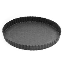 26cm Non Stick Round Metal Fluted Flan Tin in Black