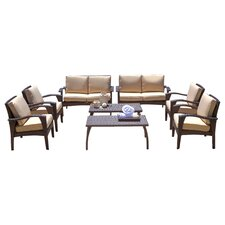 Irving Outdoor Wicker 8 Piece Seating Group with Beige Cushions