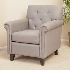 Tufted Linen Club Chair in Grey