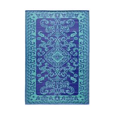 Classic Duo Tone Blue Outdoor Area Rug
