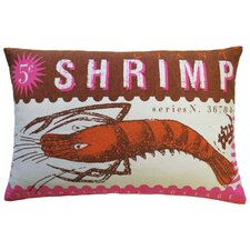 Postage Cotton Shrimp Print Pillow