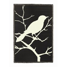 Birds Midnight Black / Off-White Outdoor Rug