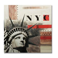 "Handpainted Nyc Printed Canvas Art - 28"" X 28"""