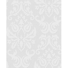 Paintable Damask Wallpaper in White
