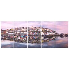 Graham and Brown Brixham Harbour 5 Piece Photographic Print on Canvas Set