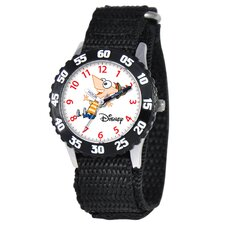 Kid's Phineas Stainless Steel Time Teacher Watch in Black with Black Bezel