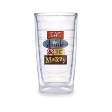Just for Fun Drink and Be Merry 16 oz. Insulated Tumbler (Set of 4)