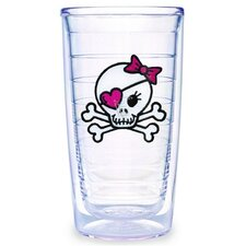 Just for Fun Girl Skull and Crossbones 16 oz. Insulated Tumbler (Set of 4)
