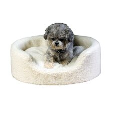 Saddle Stitch Microfiber Kuddle Kup® Pet Bed in All Natural Sherpa
