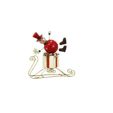Small Snowman on Sled (Set of 2)