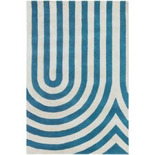 Tufted Pile Blue Geometric Rug
