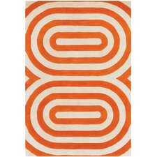 Tufted Pile Orange Geometric Rug