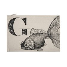 """Vintage Engravings Pictorial Alphabet """"G"""" Pouch"""
