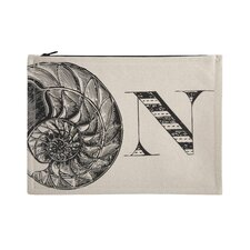 "Vintage Engravings Pictorial Alphabet ""N"" Pouch"