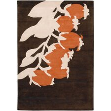 Tufted Pile Brown/Orange Buds Rug