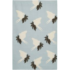 Flat-weave Dhurrie Area Rug Blue/Cream Swallows Area Rug