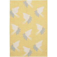 Flatweave Dhurrie Area Rug Yellow/Cream Swallows Area Rug