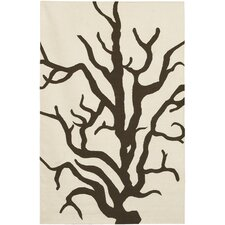 Flatweave Dhurrie Area Rug Cream/Brown Coral Area Rug