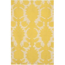 Flatweave Dhurrie Area Rug Yellow/Cream Flock Area Rug
