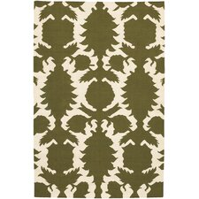 <strong>Thomas Paul</strong> Flat-weave Dhurrie Green/Cream Flock Rug