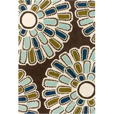 Tufted Pile Chocolate/Aqua Flora Rug