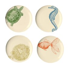 "Sea Life 9"" Dessert Plates (Set of 4)"