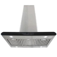 """36"""" 870CFM Stainless Steel Island Mount Range Hood with Dual Side LED Slide Touch Control"""