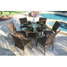 <strong>Hospitality Rattan</strong> Grenada Patio 7 Piece Round Glass Dining Set