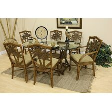 <strong>Hospitality Rattan</strong> Cancun Palm Indoor Rattan Rectangular Dining Set