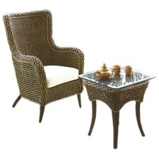 <strong>Hospitality Rattan</strong> Cozmel Lounge Arm Chair and Table Set with Cushion
