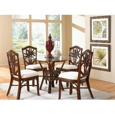 <strong>Hospitality Rattan</strong> Cancun Palm 5 Piece Dining Set