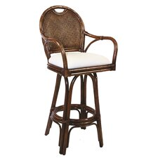 "Classic Indoor Rattan 24"" Swivel Bar Stool in TC Antique Finish"