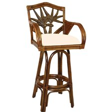 "<strong>Hospitality Rattan</strong> Cancun Palm 24"" Swivel Bar Stool"