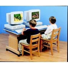 """Childcraft 47.5"""" Adjustable Height 2-Station Mobile Computer Workstation"""