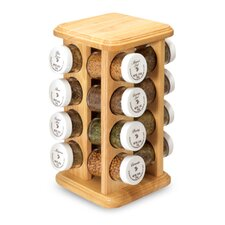 16 Jar Spice Rack in Beech Wood