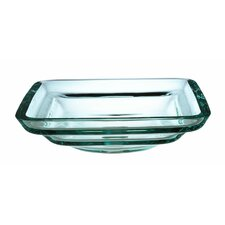 Transparent Tiered Square Glass Vessel Bathroom Sink