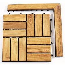 """Le Click Teak 1.5"""" x 1"""" Corner Pieces Interlocking in Natural (Set of 2)"""