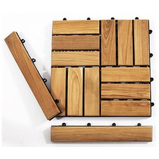 """Le Click Teak 1.5"""" x 1"""" End Pieces Interlocking in Natural (Set of 2)"""